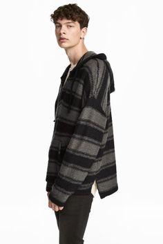 Kötött kapucnis pulóver - Fekete/szürke csíkos - FÉRFI | H&M HU 1
