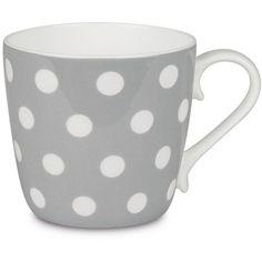 Konitz Colors Polka Dots Bone China Mug (45 SAR) ❤ liked on Polyvore featuring home, kitchen & dining, drinkware, cups, grey, polka dot mug, colored drinkware, bone china and polka dot cups