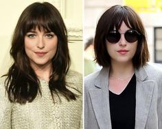 New Hair 2015: See Celebrity Hair Makeovers | InStyle.com Dakota Johnson: In mid-April, the Fifty Shades of Grey star ditched her loose waves for a chic, shoulder-grazing style.