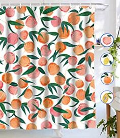 Lifeel Peach Shower Curtains, Allover Fruits Shower Curtain Cute Bright Colorful Design Waterproof Fabric Bathroom Shower Curtain Set with 12 Hooks, Peachy Pink - Modern
