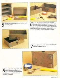 Artesanato e Cia: Mini gaveteiro - cartonagem - passo a passo Cardboard Recycling, Cardboard Storage, Cardboard Crafts, Diy Storage Drawers, Craft Room Storage, Craft Organization, Cardboard Furniture, Recycled Furniture, Jewellery Box Making