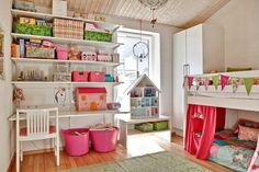 35 Cool Kids Loft Beds | Kidsomania One bunkbed, bottom simply two stacked mattresses?  Then girls can't see each other...
