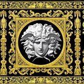 7 baroque rococo black gold flowers floral leaves leaf ivy vines acanthus Versace inspired medusa vases goats horn of plenty hoof Cornucopia columns gorgons Greek Greece mythology filigree by raveneve