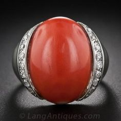 18 Karat White Gold Coral and Diamond Ring - Gemstone Rings - Shop for Jewelry