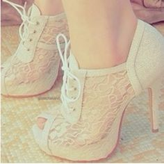 Lacy heels are both cute, but also very elegant.
