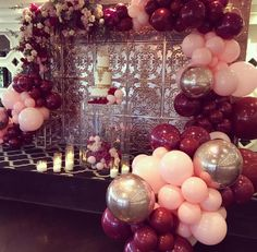 Baby Pink, Burgundy And Rose Gold Balloons With Floral for Burgundy Party Decorations Gold Birthday, Birthday Bash, Birthday Parties, Women Birthday, Party Decoration, Birthday Decorations, Wedding Decorations, Shower Party, Baby Shower Parties