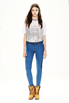 Figure-following denim trousers in a two-tone, heathered styling.