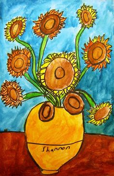 After learning about Vincent and his sunflowers , we did a step by step drawing of the sunflowers in pencil. Students then traced over pen...