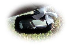 Black mirror cute faux fur furry fluffy fuzzy rear view interior car mirror cover with cute white satin bow goth emo punk halloween