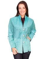 A Scully Ladies' Leather Suede Jacket: Western Flirty Fringe Turquoise S-2XL