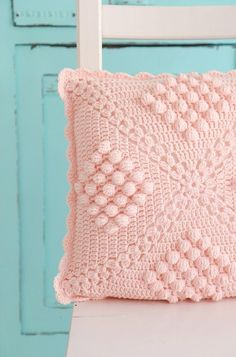 Cushion - Häkelkissen reference, wool pillow, pillowcase, - a designer piece of bleuetrose at DaWanda