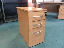Slimline under-desk beech pedestals with silver handles