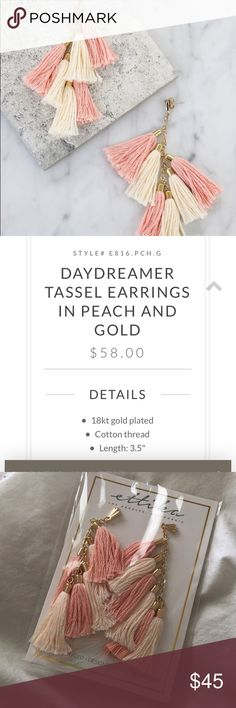 Ettika 18 K Gold Platted Earrings Brand new earrings, in package. Gold plated, pink and peach tassel. See website link or second picture for more info.   Make an offer!   https://www.ettika.com/collections/earrings/products/daydreamer-tassel-earrings-in-peach-and-gold Ettika Jewelry Earrings