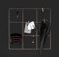 9 Square Grid by wallment. Modern hall storage with clips, hooks and wallment Baskette wall baskets.