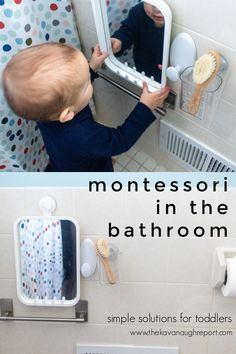 Montessori homes value independence and accessibility, a self care station gives both to young toddlers. Here's a Montessori bathroom for 1-year-olds. Self Care Activities, Fun Activities For Kids, Sensory Activities, Infant Activities, Montessori Room, Montessori Toddler, Baby Learning, Old Mirrors, Practical Life
