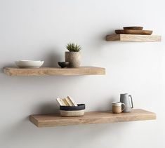 Embrace the open-shelving trend with the Brighton Wood Floating Shelves. Stack ceramics, dinnerware and more in the kitchen or use to display frames photographs in a home office or stairway. Short on floor space? The smallest one can be used as a … Floating Shelves Bedroom, Wooden Floating Shelves, Wooden Wall Shelves, Floating Shelf Decor, Shelves For Wall, Bedroom Wall Shelves, Wooden Shelf Design, Living Room Shelves, Bookshelf Design