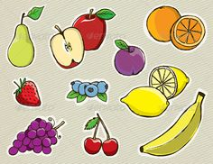 Vector Hand Drawn Fruit #GraphicRiver Set of hand drawn vector fruit. Layered EPS 10 file. Created: 12November13 GraphicsFilesIncluded: VectorEPS Layered: Yes MinimumAdobeCSVersion: CS Tags: apple #banana #blueberry #cherry #colorful #doodle #drawing #food #foodanddrink #fresh #fruit #garden #grapes #groceries #handdrawn #harvest #healthy #healthyeating #illustration #lemon #orange #organic #pear #plum #sketch #strawberry #vector #vegetables