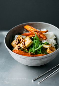 CRISP TOFU, CARROTS and SNOW PEAS in a SWEET SPICY SESAME SAUCE [onetwosimplecooking]