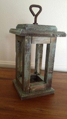 Handmade Rustic Wood Lantern Candle Holder