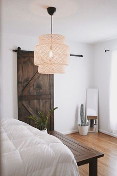 barn doors, wood floors, cactus, woven hanging light