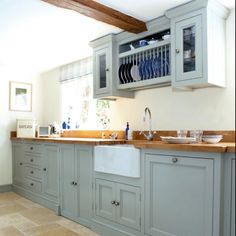 Gray kitchen cabinets benjamin moore greyhound 1579 for Grey and duck egg blue kitchen