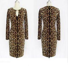 Morpheus Boutique  - Leopard V Neck Long Sleeve Sexy Dress