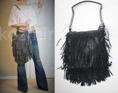 Adjustable Strap wear as shoulder or crossbody bag. LOST & FOUND FRINGE BAG. Fabric body with tiers of long, genuine goat leather fringe. One zip, two pouch wall pockets on interior. Black with gunmetal tone chain strap. | eBay!