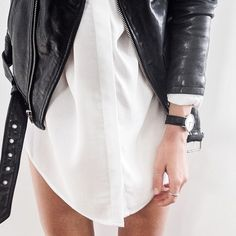 Leather jacket with white shirt dress.