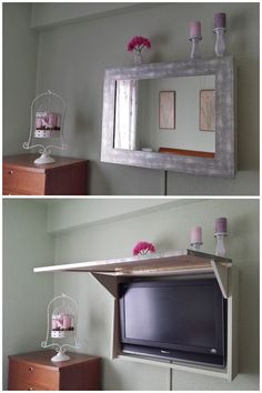 Brilliant solution for disguising and hiding a tv a - Como hacer un mueble para tv ...