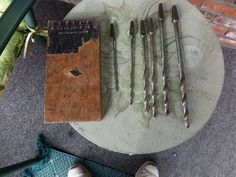 Antique Drill bits in wooden holder Rustic tools by Morethebuckles