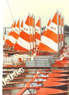 orange and white, nautical, sail boats