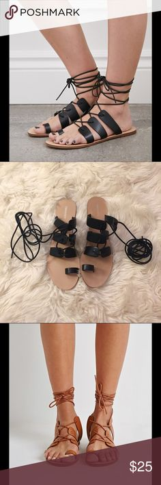 Black Gladiator Lace Up Sandals A pair of faux leather sandals featuring a strappy front with an ankle wrap closure, side cutouts, a heel cutout, laced tie up, and an toe wrap. In very great almost new condition. BLACK COLOR Forever 21 Shoes Sandals
