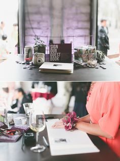Instant photo camera by guest book (instead of photo booth?)    modern guest book  | 100 Layer Cake