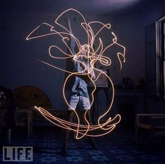 picasso drawing with light: i have always had a soft spot for light drawings, but i love these from Picasso.