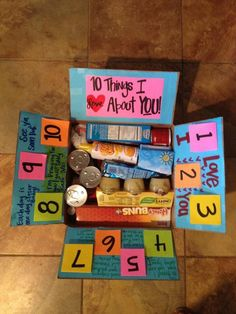 """""""10 Things I Love About You"""" care package idea. Write one thing you love about him under each post-it note."""