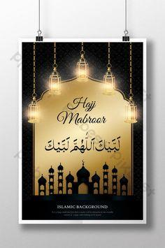 Black and Golden Hajj Mabroor Religious Luxury Poster Flyer And Poster Design, Islamic Posters, Powerpoint Word, Music Decor, Ramadan, Ceiling Lights, Templates, Hajj Mubarak, Luxury