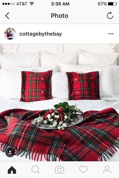 Frozen Christmas, Plaid Christmas, Instagram Christmas, Blue Bedding, Christmas Decorations, Holiday Decor, Tartan, Master Bedroom, Blue And White