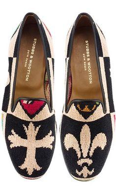 Stubbs & Wootton needlepoint slippers, $400
