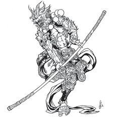 Sun Wukong (Monkey King) on Behance Body Art Tattoos, King Tattoos, Japanese Tattoo Art, Circle Tattoos, Sun Wukong, Japanese Tattoo, Monkey Tattoos, Tattoo Designs, Demon Tattoo