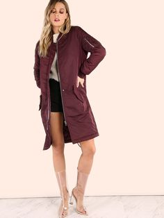 """Bundle up in this oversized jacket. Featuring a padded longline bomber jacket with a three pocket design and front button + zip closure. Jacket measures 40.8"""" in. from top to bottom hem. Wear over distressed skinnies and a knotted tank + beanie. #urban #MakeMeChic #style #fashion #newarrivals"""
