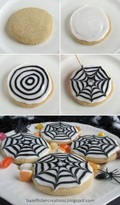 -Peek-A-Boo! Cupcakes Making spider web patterns in icing is a really effective way to decorate cookies and cakes for Halloween and they're actually very easy to do, children will love making these too!