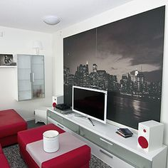Love the big picture behind the tv.