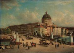 Blick vom Zeughaus zur Schloßbrücke mit ihren Skulpturen, rechts zur Häuserzeile der Schloßfreiheit sowie zur prägenden Kuppel auf der Westseite und links zur Nordseite des Schlosses, 1853