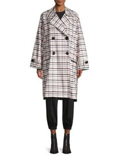 Opening Ceremony Oversized Plaid Trench Coat In Plaid Pink Multi Opening Ceremony, World Of Fashion, Luxury Branding, Trench, Winter Fashion, Plaid, Clothes For Women, Coat, Shopping