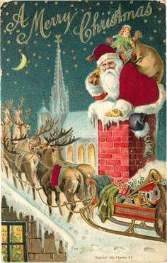 Christmas Postcard Santa Claus 197 - Santa in Silk on Chimney