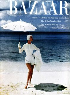 Vintage Harper's Bazaar Cover Poster Print, Magazine cover, Fashion Art, item Mid Century x Harpers Bazaar, Panama Hat, Trending Outfits, Summer, Travel, Etsy, Cover, Janus, Summer Time
