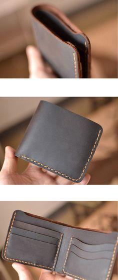 Handmade wallet Mens leather wallet Hand sewing Brown bifold wallet  leather wallet Gift for men  Billfold vintage wallet #W01