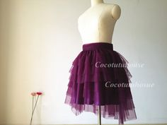 Soft Plum Tulle Skirt and Blush Pink Sash /Women by CocoTutuhouse