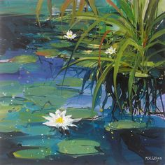 mark h wilson sheffield acrylic paintings landscape affordable art Artist Artwork Gallery peak district skies sunsets sunrise Pond Painting, Lotus Painting, Lily Painting, Canvas Painting Landscape, In Loco, Cityscape Art, Lily Pond, Wow Art, Watercolor Paintings