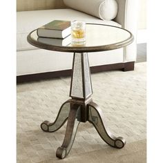 Michelle Accent Table featuring polyvore, home, furniture, tables, accent tables, pedestal table, handcrafted tables, handmade tables, handcrafted furniture and hand made tables